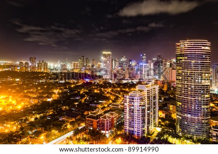 Night shot of skyline of Makati, Philippines - stock photo