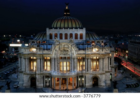 Night shot of the Bellas Artes Palace at Mexico DF - stock photo