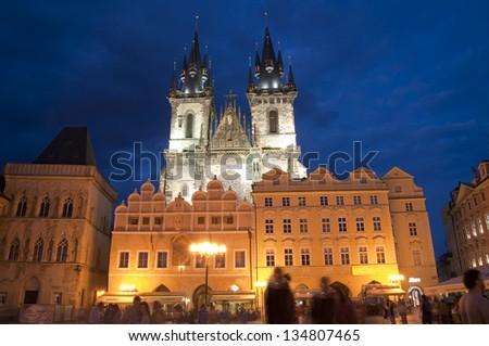 Night shot of the Church of Our Lady before  Tyn in Prague - stock photo