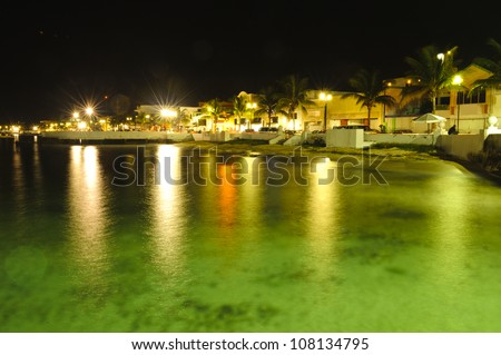Night shot of the cozumel coast at Mexico. Beautiful caribbean and travel shot for holidays - stock photo