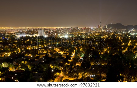 Night shot of the financial district at Santiago de Chile