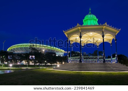 night shot of the rotunda in Elder park in Adelaide, South Australia. with Adelaide oval in the background - stock photo