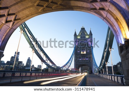 Night shot of Tower Bridge, London, England. - stock photo
