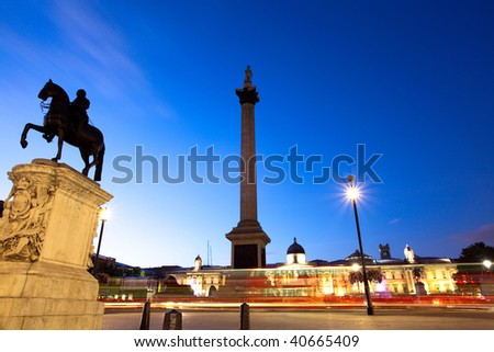Night shot of Trafalgar Square, London - stock photo