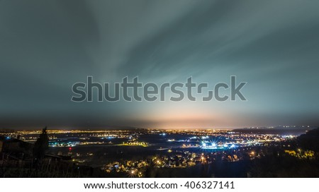 Night shot of Zagreb from beautiful Samobor hills