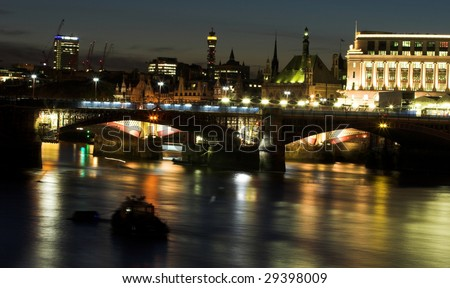 Night shot over Thames looking towards Blackfriars bridge