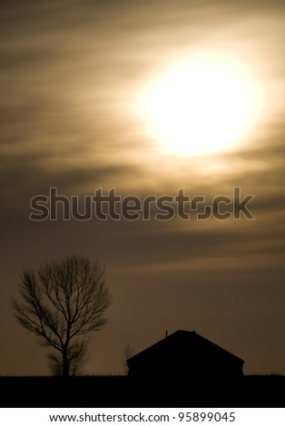 Night Shot Saskatchewan Canada Full Moon - stock photo