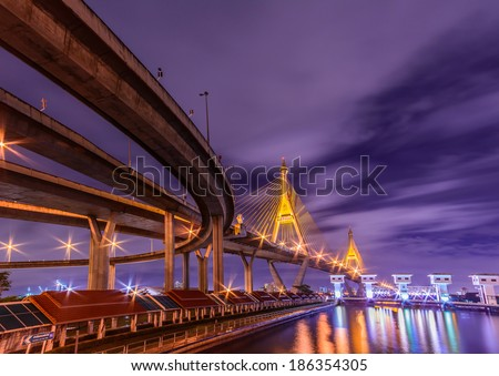 Night shot with twilight time at Bhumibol Bridge,Bangkok,Thai land - stock photo