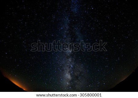 Night sky as can be seen from Mizpe Ramon, Israel - the Milky Way - stock photo