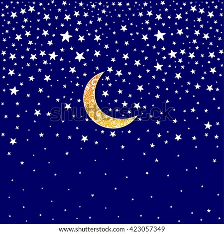 Night sky background stars and moon.  Illustration