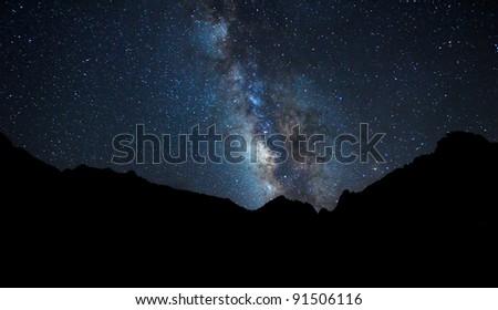 Night Sky, Bright Stars and Milky Way Galaxy - stock photo