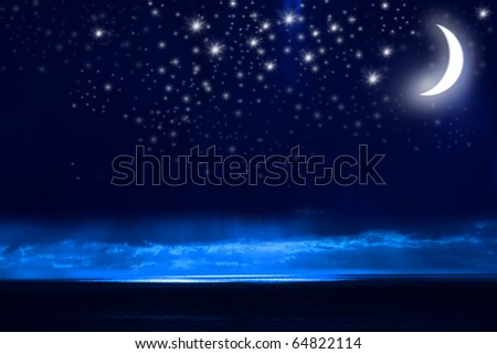Night Sky, Bright Stars, Galaxy, and Moon - stock photo