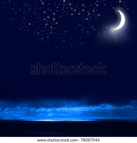 Night Sky, Bright Stars, Galaxy, and Moon - stock photo