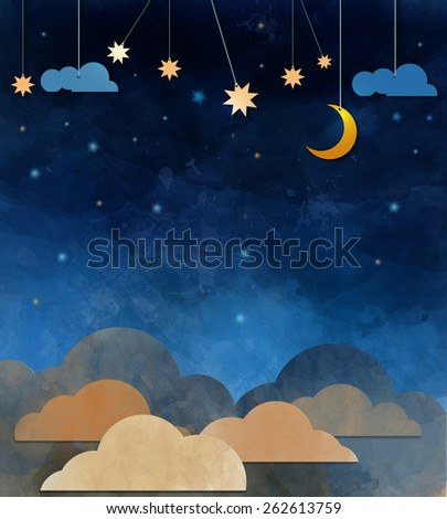 Night sky,cloud, moon and star - paper cut  .Water color on grunge paper texture background