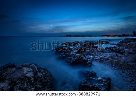 Night sky over the sea during summer evening in Croatia - stock photo