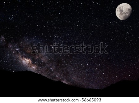 Night Sky, Stars Moon and Galaxy - stock photo