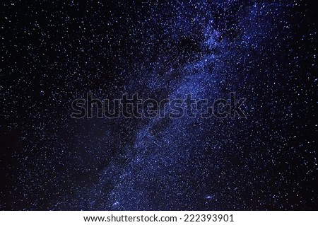 Night sky with lot of shiny stars, milky way - stock photo