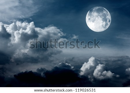 night sky with moon - stock photo