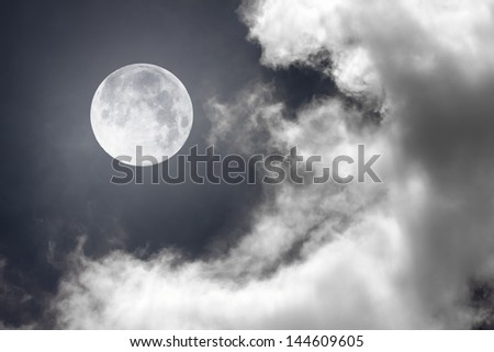 night sky with moon and clouds - stock photo