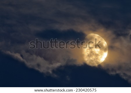 Night sky with Moon and clouds. - stock photo