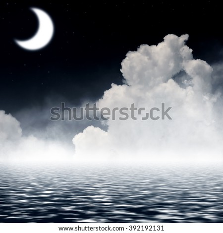 Night sky with  moon and reflection in sea. - stock photo