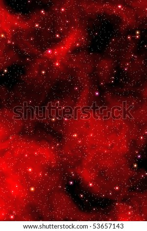 Night sky with red nebula and stars - stock photo