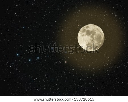 Night sky with stars and full moon - stock photo