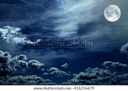Night sky with stars and full moon background