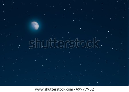 night sky with stars and moon. - stock photo