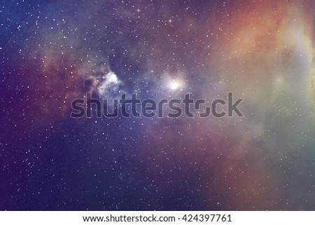Night sky with stars and nebula  - stock photo