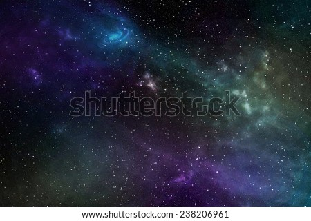 Night sky with stars and nebula. Elements of this image furnished by NASA  - stock photo