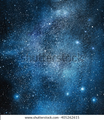 Night sky with stars and nebula, watercolor