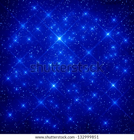 night sky with stars and planets - stock photo