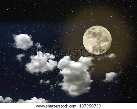 Night sky with stars, full moon and strong white clouds - stock photo