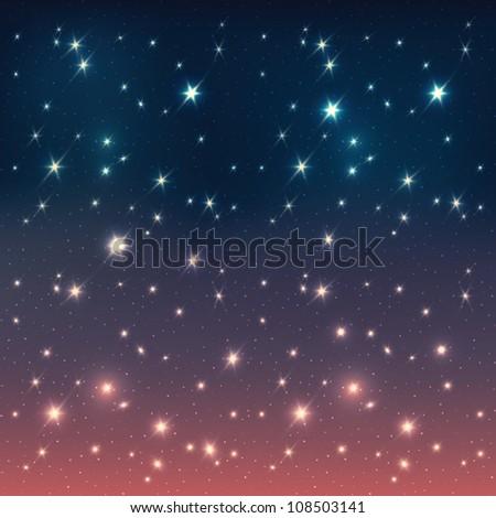 Night sky with stars. Raster version. - stock photo