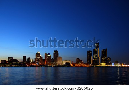 Night skyline and coastline