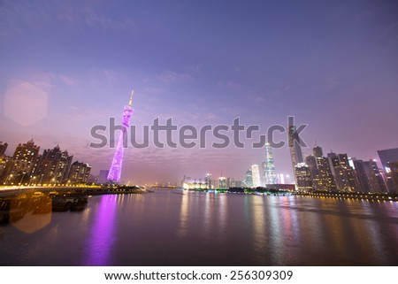 night skyline and modern cityscape in guangzhou at riverside