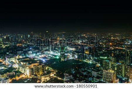 Night skyline of Bangkok from Baiyoke Sky Hotel, the tallest hotel in Southeast Asia ,Thailand - stock photo