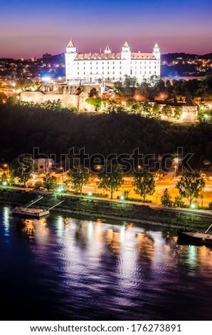 Night skyline of Bratislava with castle and Danube river, Bratislava, Slovakia - stock photo