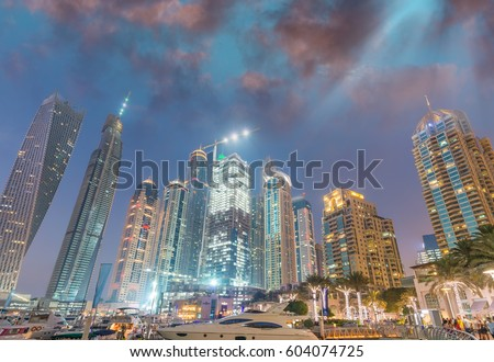 Night skyline of Dubai Marina - UAE.