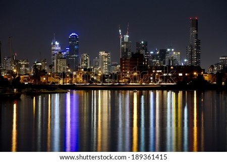 Night skyline of Melbourne, Australia - stock photo