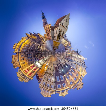 Night Skyline of Poznan Old Market Square in western Poland. Tiny planet montage from 17 HDR images - stock photo