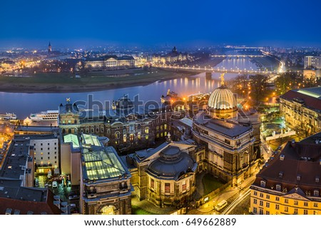 Night skyline panorama of Dresden, Germany