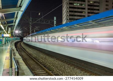 Night speed train in Seoul,korea - stock photo