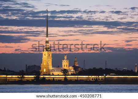 Night St. Petersburg. Peter-Pavels Fortress