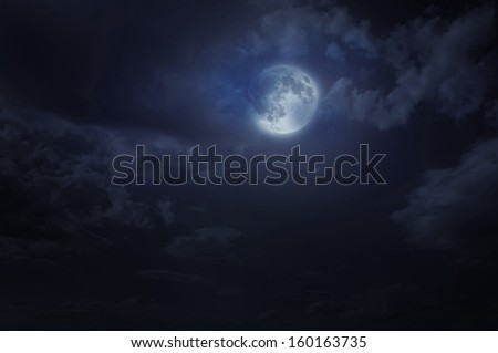Night starry sky and moon. Night cloudy sky. Halloween background - stock photo