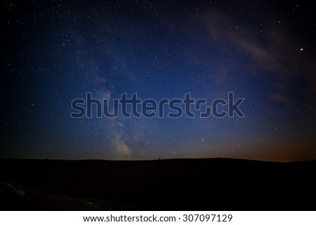 Night starry sky for background. Milky Way at night. - stock photo