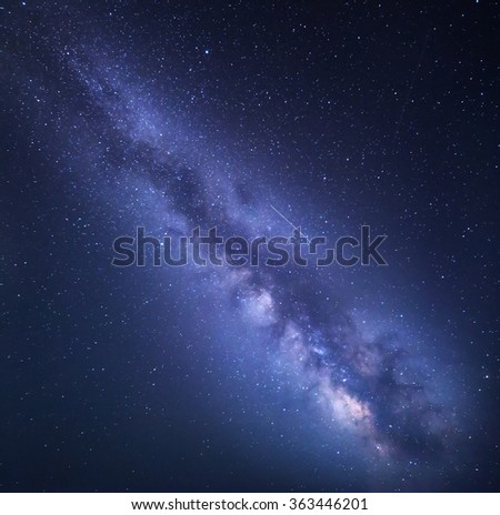Night starry sky with Milky Way. Nature background. - stock photo