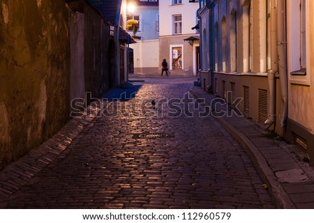 Night street at old town of Tallinn. Estonia - stock photo