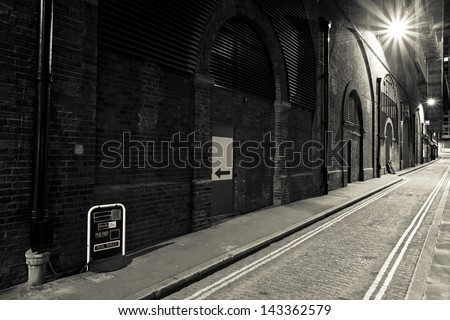 Night street in London at Sepia Color, Britain - stock photo